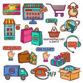 E-commerce icons set sketch — Vecteur