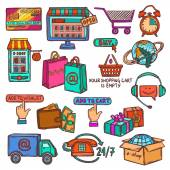 E-commerce icons set sketch — Vector de stock