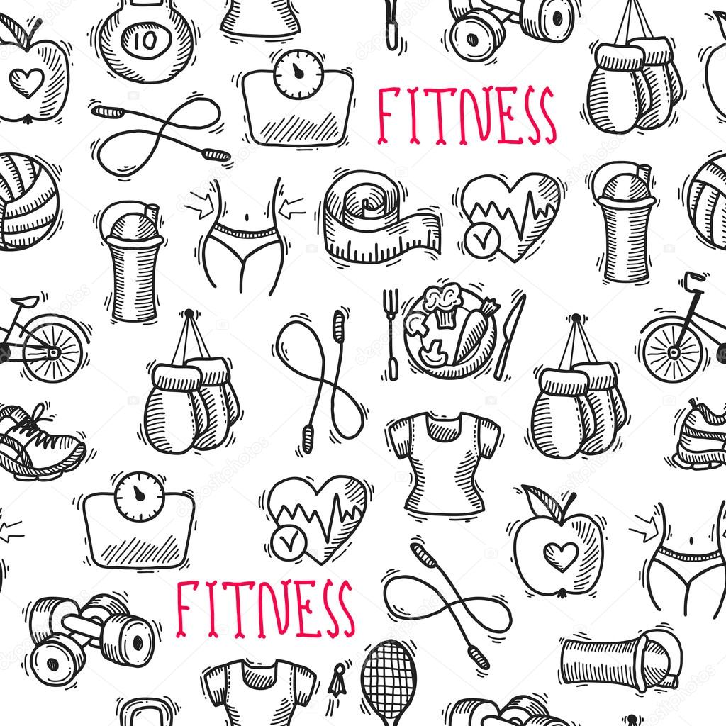 Fitness sketch black and white seamless pattern — Stock