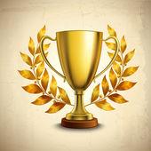 Golden trophy emblem — Stock Vector