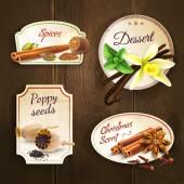 Spices badges set — Stockvector