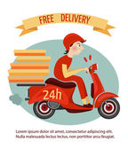 Scooter delivery poster — Stock Vector