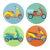 Scooter icon flat set — Stockvektor