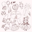 Little girl accessories set doodle sketch — Stock Vector #55785417