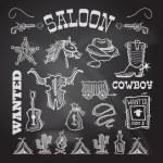 Cowboy chalkboard set — Stock Vector #55785583