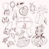 Little girl accessories set doodle sketch — Stock Vector