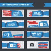 Discount banners blue origami set — Stock Vector
