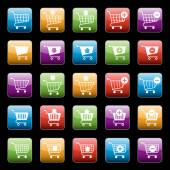 Shopping cart buttons set — Stockvector