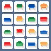 Sofa Icons Flat — Stock Vector
