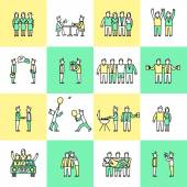 Friends icons flat line — Stock Vector