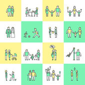 Family icons set flat line — Vetorial Stock