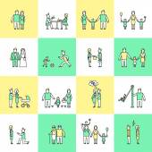 Family icons set flat line — Stockvektor