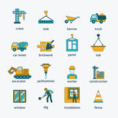 Construction icons flat line set — Vetorial Stock