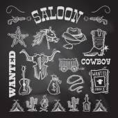 Cowboy chalkboard set — Stockvektor
