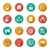 Marketers Flat Icons Set — Stock Vector