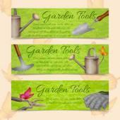 Garden tools horizontal banners — Stock Vector