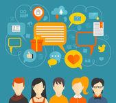 Social media concept — Stok Vektör