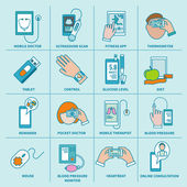 Digital health icons set flat line — Vecteur