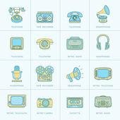 Retro Media Flat Line Icons — Stock Vector