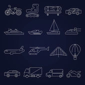Transport icons outline set — Stock vektor