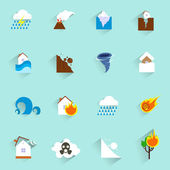 Natural disaster icons flat — Stock Vector