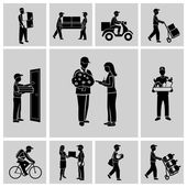 Delivery icons black — Stock Vector
