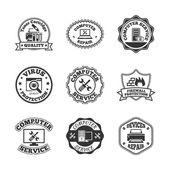 Computer repair labels icons set — Stock Vector