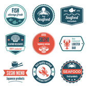 Seafood label set — Stock Vector