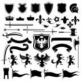 Heraldic set black — Stock Vector