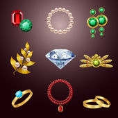 Jewelry realistic icons — Stock Vector