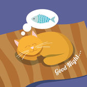 Sleeping cat background — Stockvector
