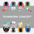 Teamwork people top view — Stock Vector #56033883