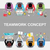 Teamwork people top view — Stockvector