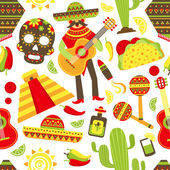 Mexico seamless pattern — Stock Vector