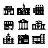 Government buildings black and white icons — Stock Vector