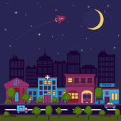 City scape night background — Stockvektor