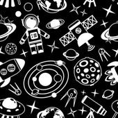 Space black and white seamless pattern — Stock Vector