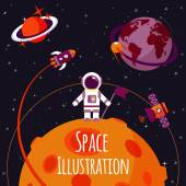 Space flat illustration — ストックベクタ