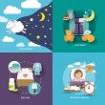 Постер, плакат: Sleep time icons flat