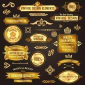 Éléments de design vintage or — Vecteur