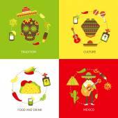 Mexico flat icons set — Stock Vector