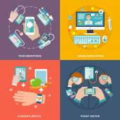 Digital health icons set flat — Vecteur