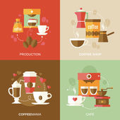 Coffee icons flat — Stock vektor