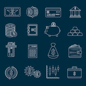 Money finance icons outline — Stock Vector