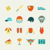 Baseball icons set flat — Stock Vector