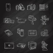 Photo video icons chalkboard — Stock Vector