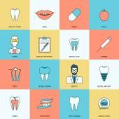 Teeth icons flat — Stock Vector