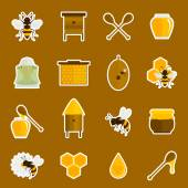 Bee honey icons stickers set — Stock Vector