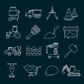 Construction icons set outline — Stock Vector
