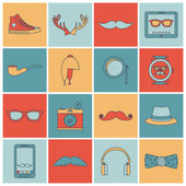 Hipster icons set flat line — Stock Vector